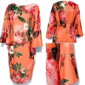 NWT Calvin Klein Orange Melon Bell Sleeve Dress 8